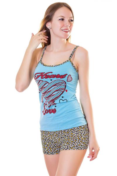 Пижама, артикул: XP1707, цвет - голубой