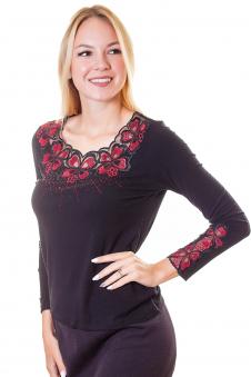 Блузка, цвет - черно-красный